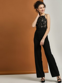 Iris Embroidered Lace Cross Back Jumpsuit