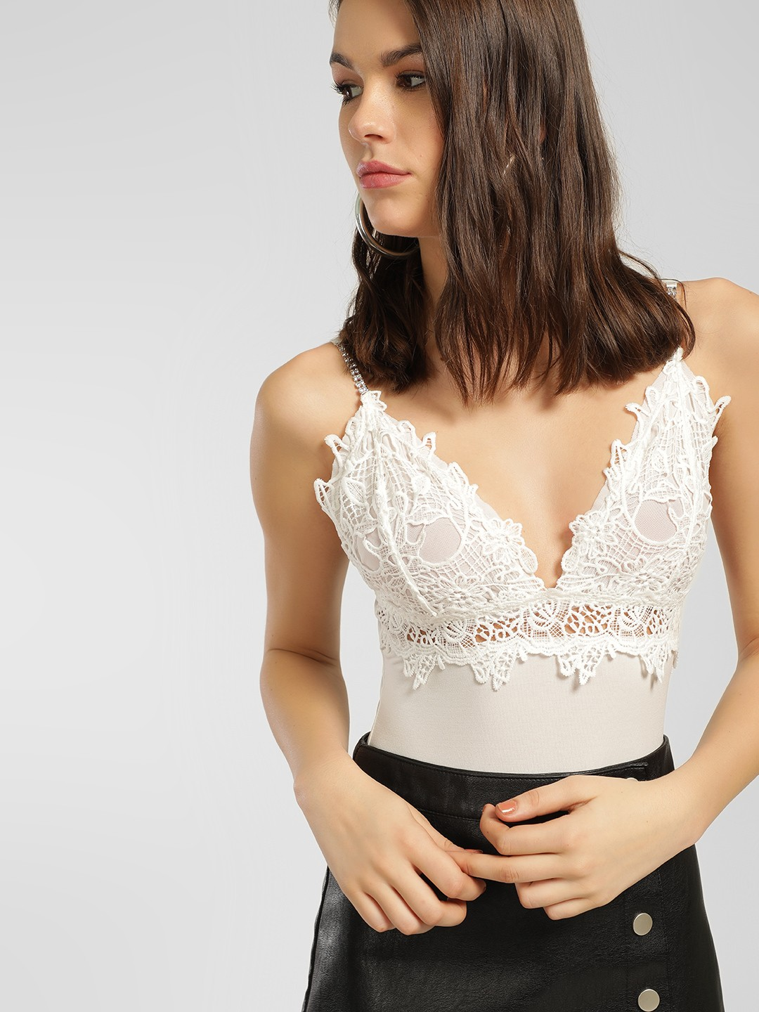 Iris White Lace Trim Strappy Bodysuit 1