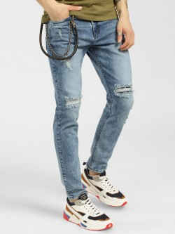 Deezeno Distressed Light Wash Slim Jeans