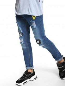 Deezeno Distressed Badge Detail Skinny Jeans
