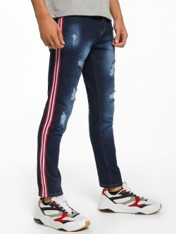 Deezeno Distressed Side Tape Skinny Jeans