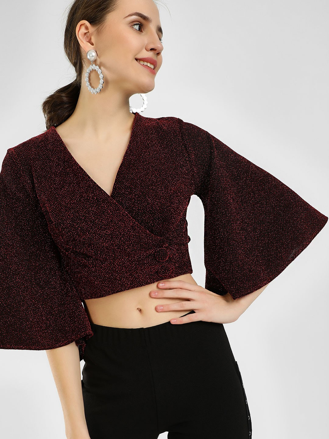 KOOVS Red Shimmer Wrap Crop Top 1