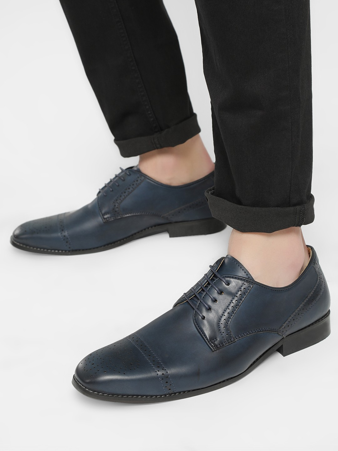 Bolt Of The Good Stuff Blue Brogue Punches Derby Formal Shoes 1