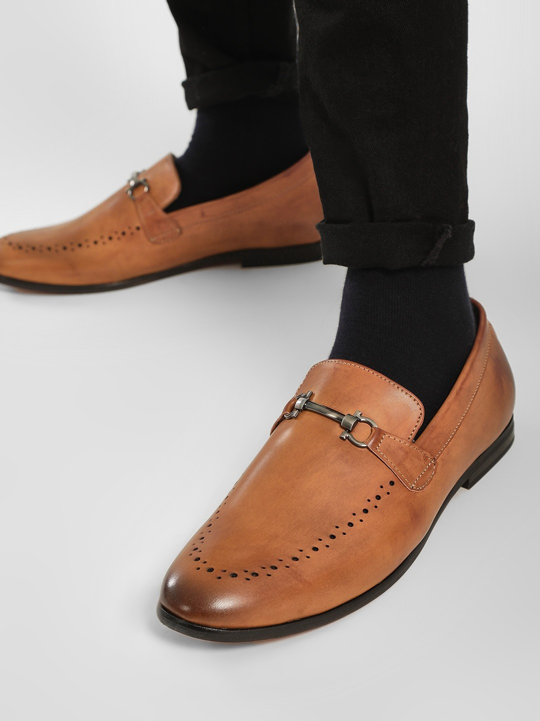 Bolt Of The Good Stuff Brown Punches Detail Horsebit Loafers 1