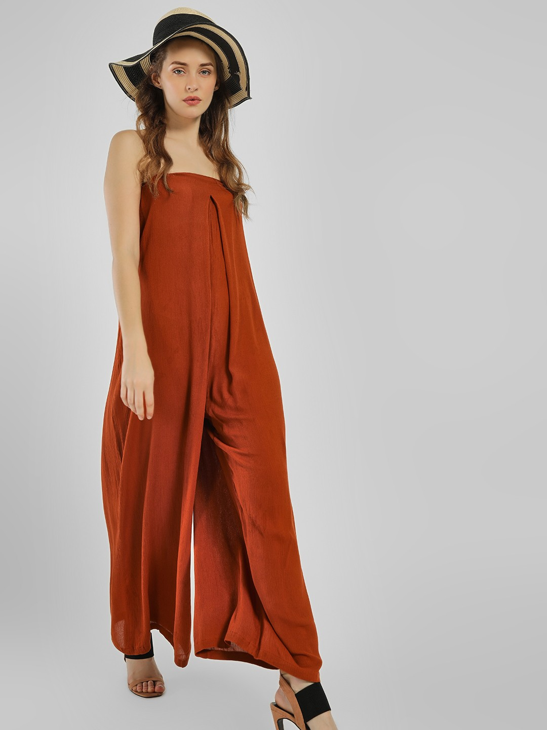 The Gud Look Rust Flared Bandeau Jumpsuit 1