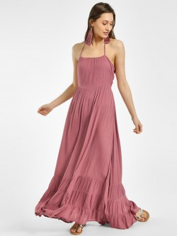 The Gud Look Halter Neck Maxi Dress