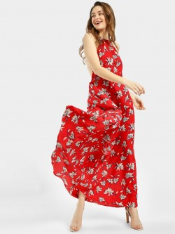 The Gud Look Floral Print T-Strap Maxi Dress