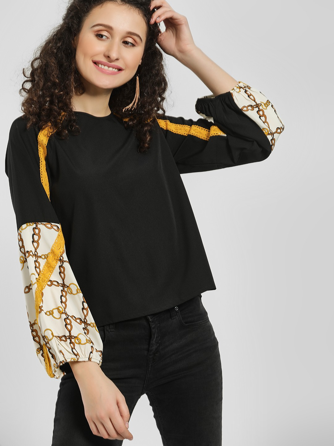 The Gud Look Black/Yellow/Print Mixed Print Color Block Blouse 1
