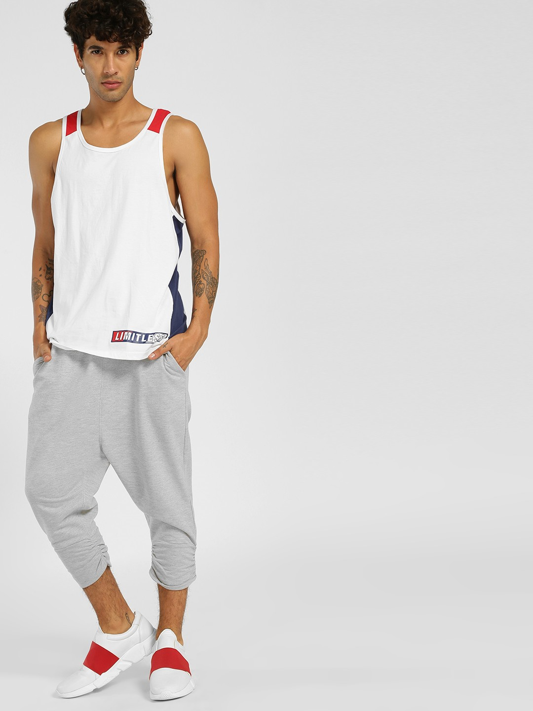 Buy SKULT By Shahid Kapoor Grey Drop Crotch Joggers for ...
