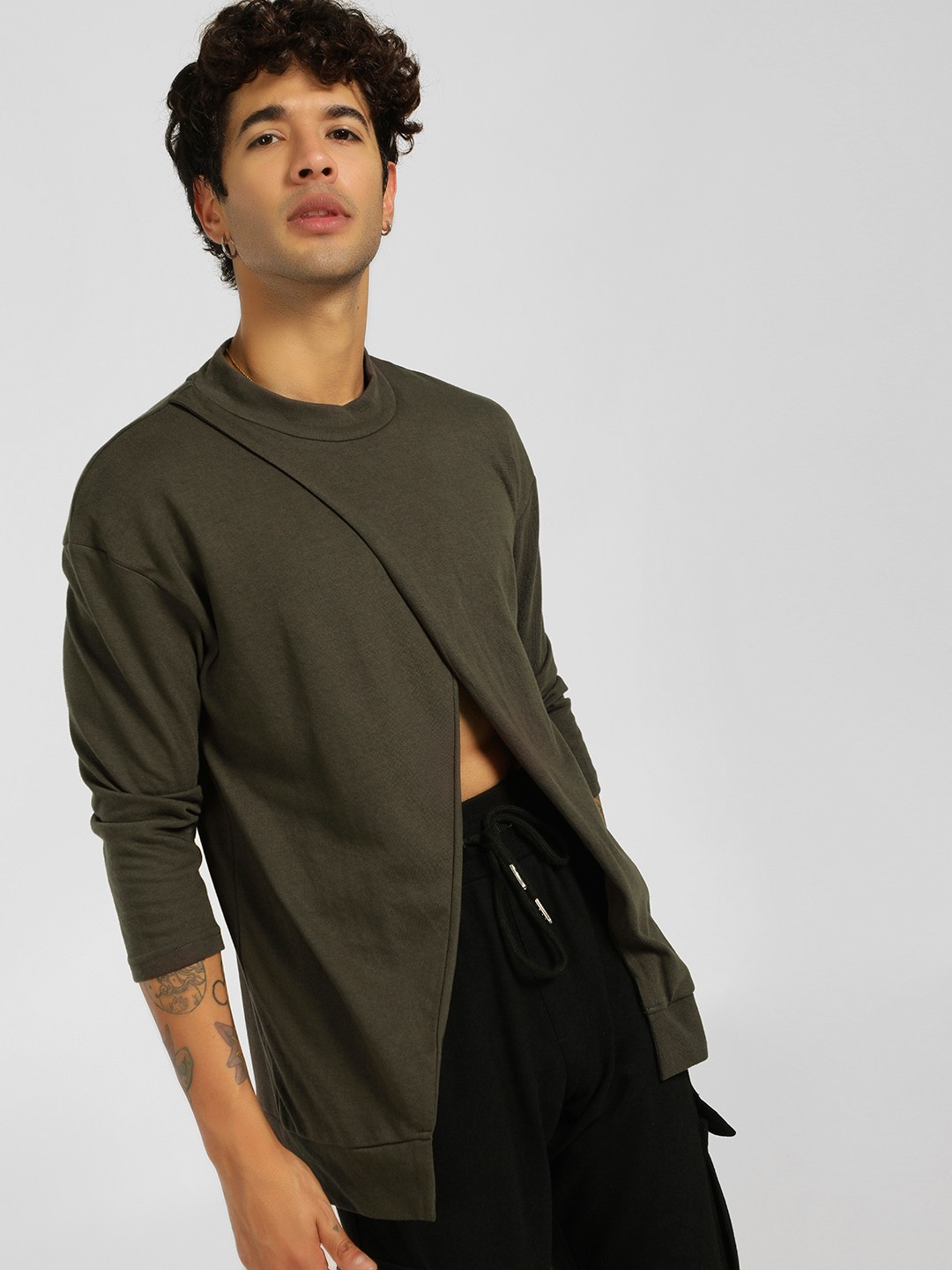 SKULT By Shahid Kapoor Olive Ribbed Overlay T-Shirt 1