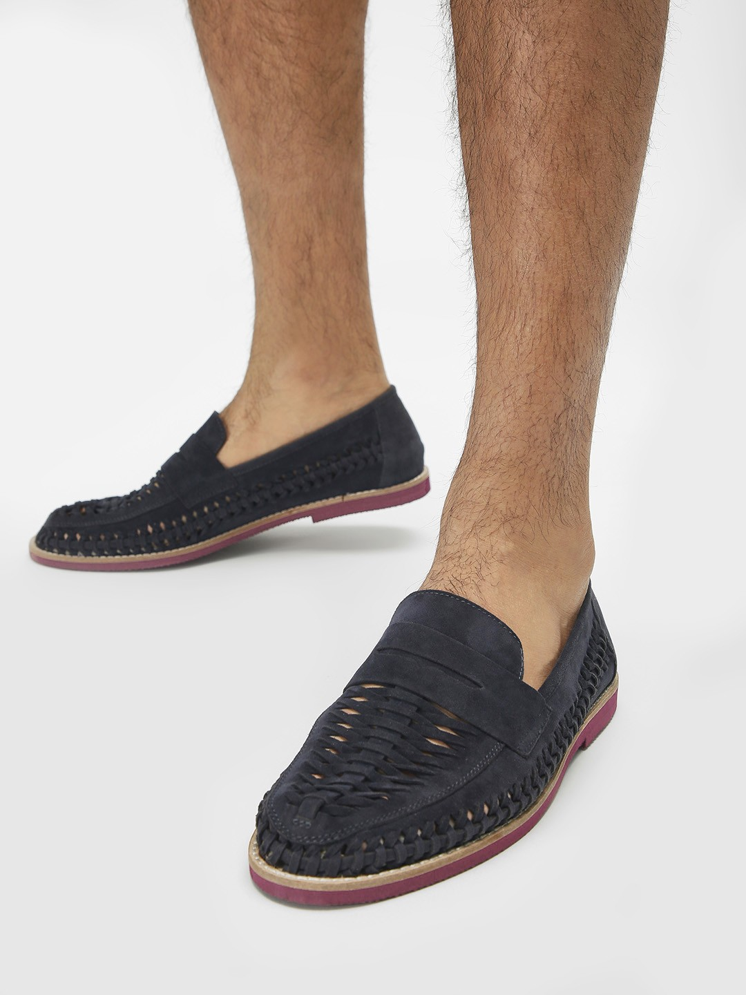 Bolt Of The Good Stuff Blue Suede Weave Penny Loafers 1