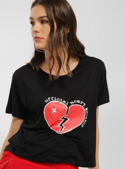 LOVEGEN Broken Heart Print Crop T-Shirt