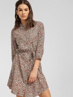 LOVEGEN Leopard Print Shirt Dress