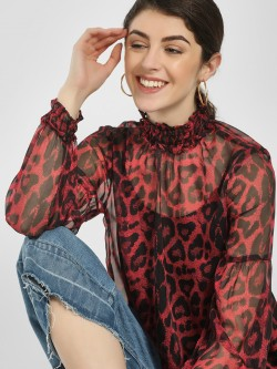 LOVEGEN Leopard Print Ruffled Neck Blouse