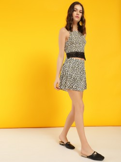LOVEGEN Leopard Print Flared Shorts