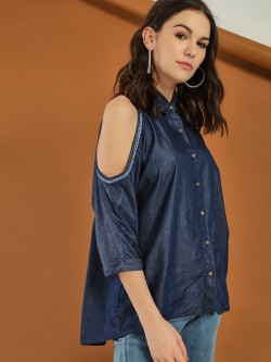 LOVEGEN Cold Shoulder Denim Shirt