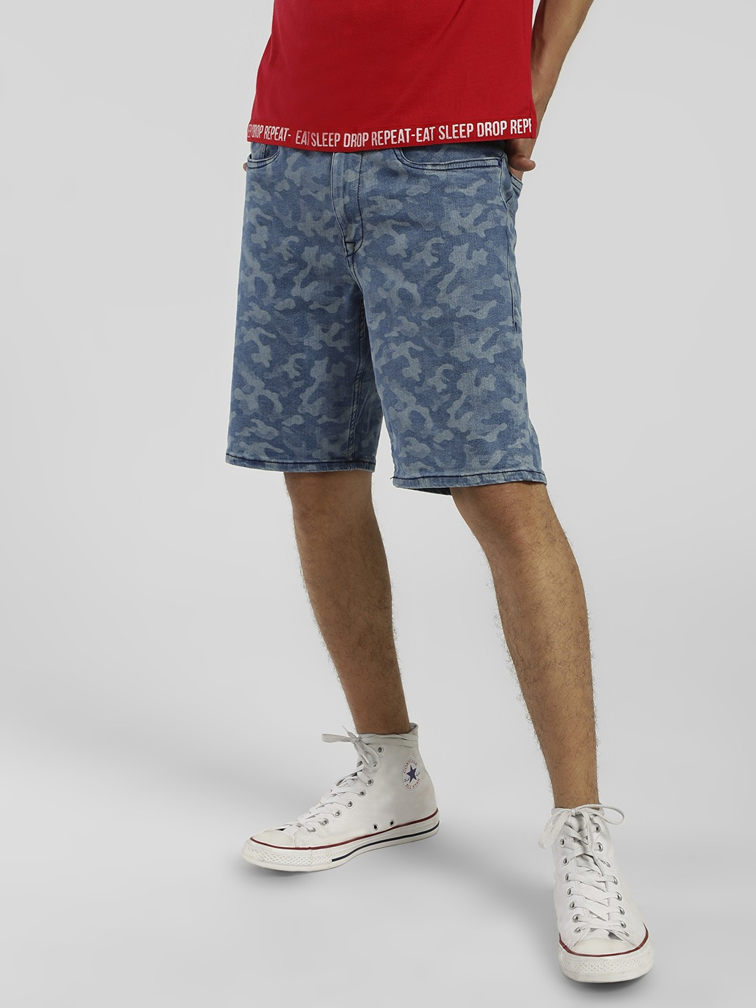 Flying Machine Blue Camo Print Shorts 1