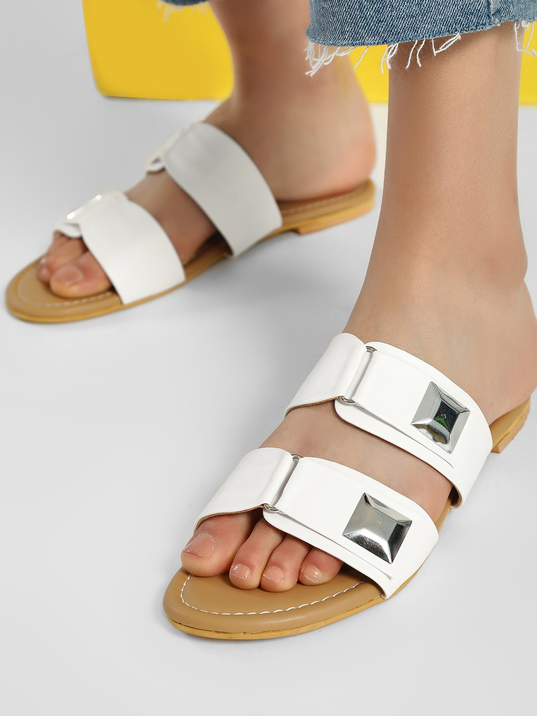CAi White Double Buckle Strap Flat Sandals 1