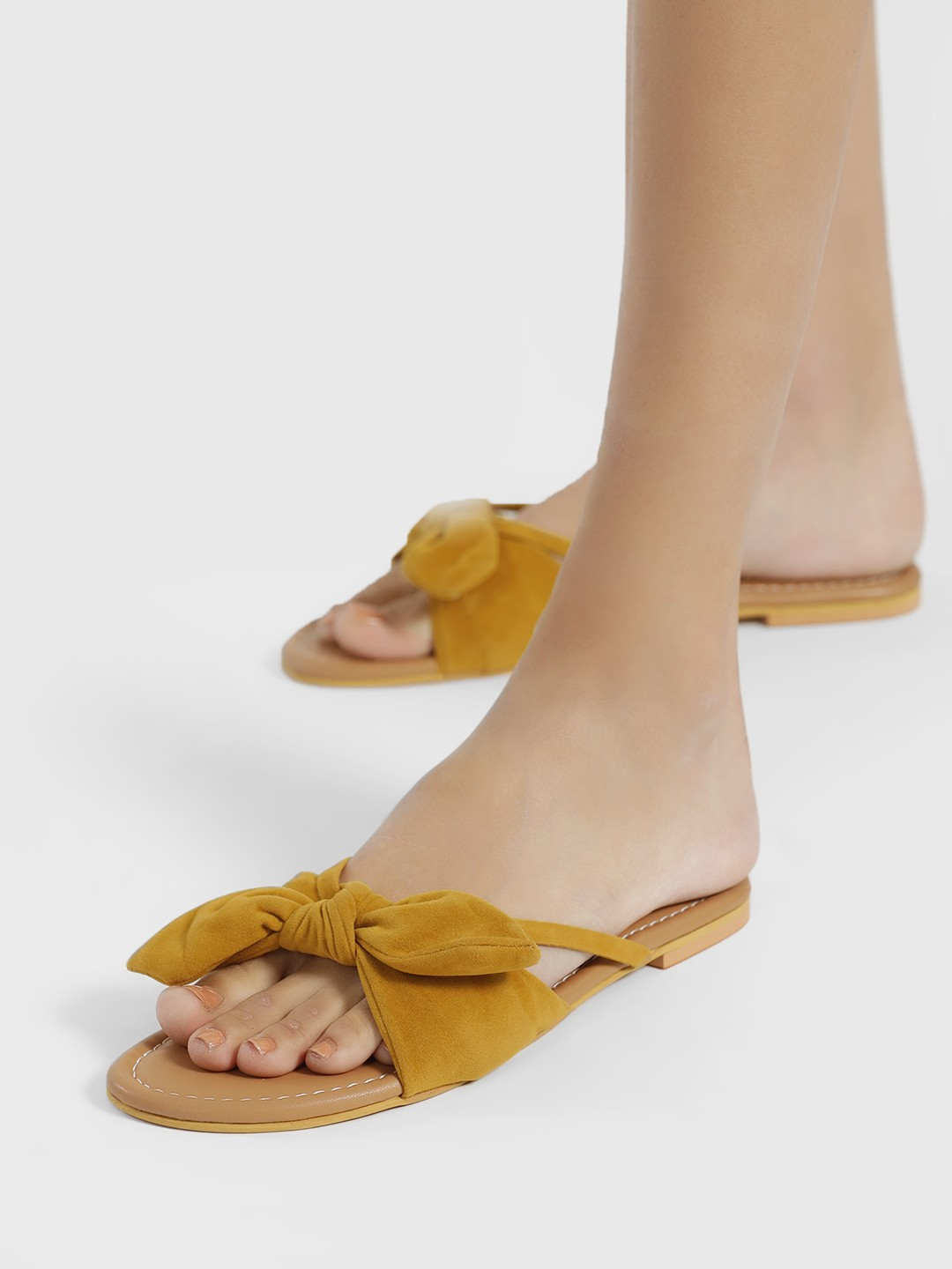 CAi Yellow Beach Knot Suede Slides 1