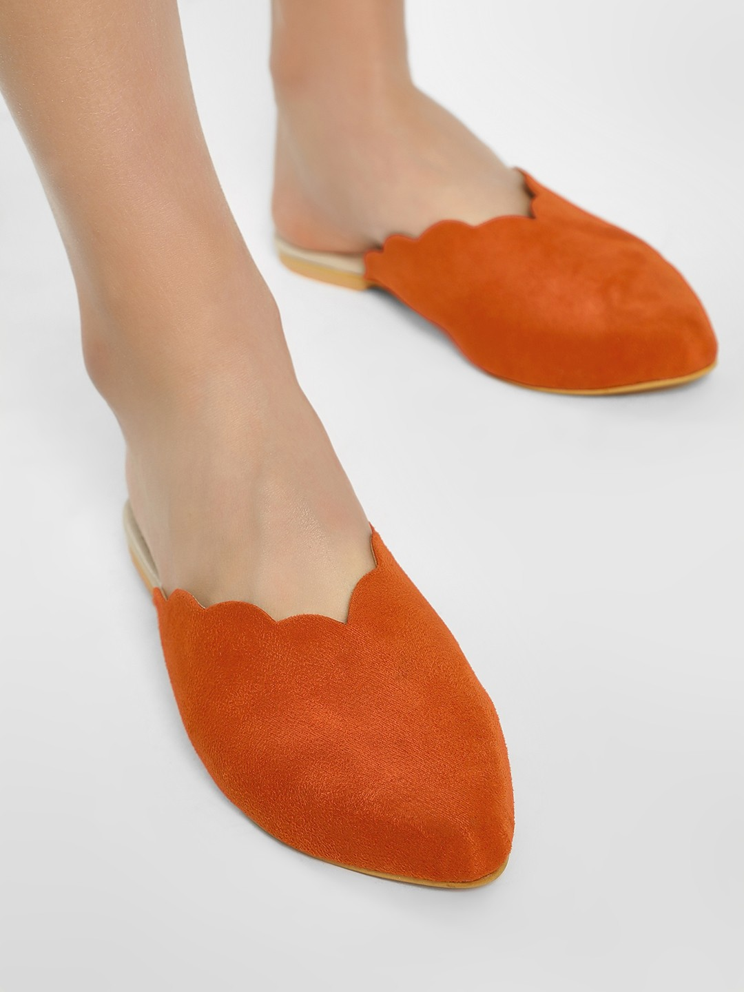 CAi Orange Scalloped Edge Flat Mules 1