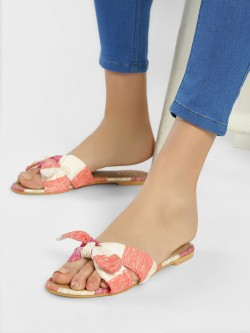 CAi Striped Bow Detail Flat Sandals