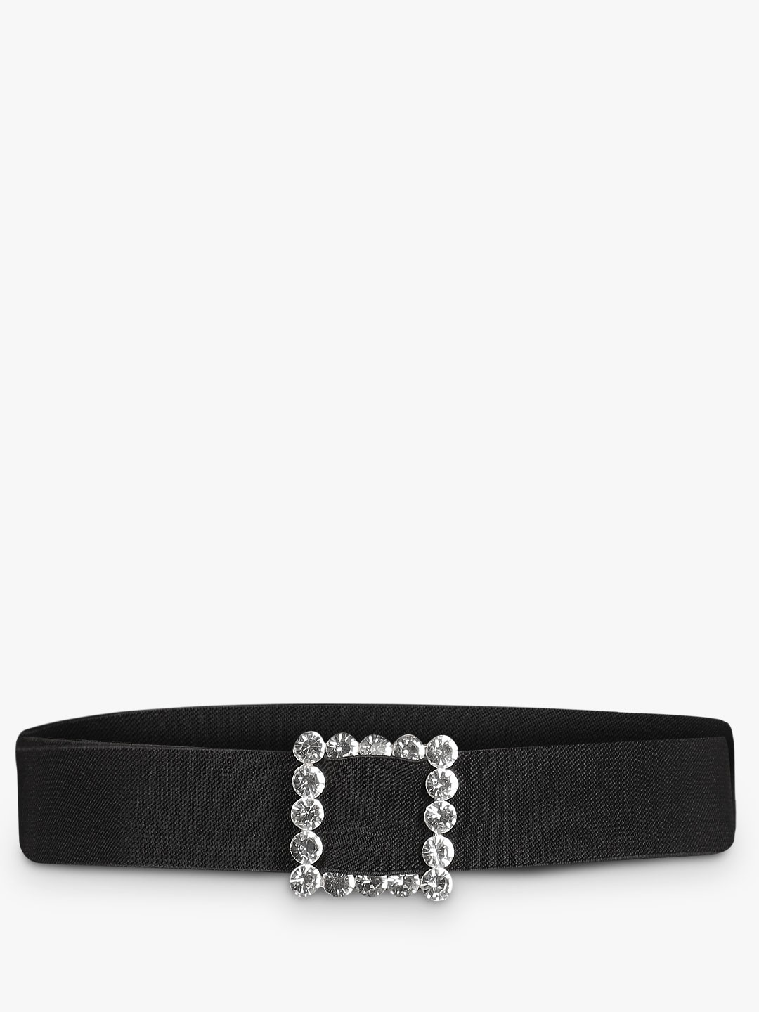 Style Fiesta Black/Silver Square Diamante Embellished Buckle Belt 1