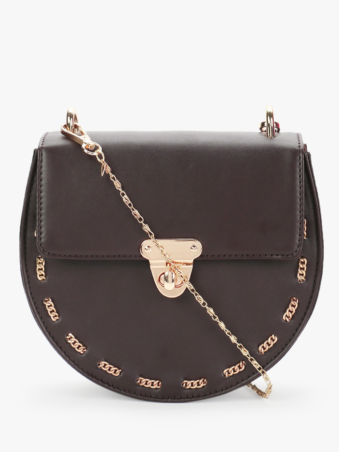 Gusto Brown Structural Chain Detail Sling Bag 1