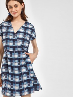 KOOVS Button-Front Check Shift Dress