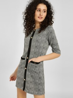 KOOVS Multi-Check Shift Dress