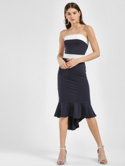 Quiz Colour Block Fishtail Midi Dress
