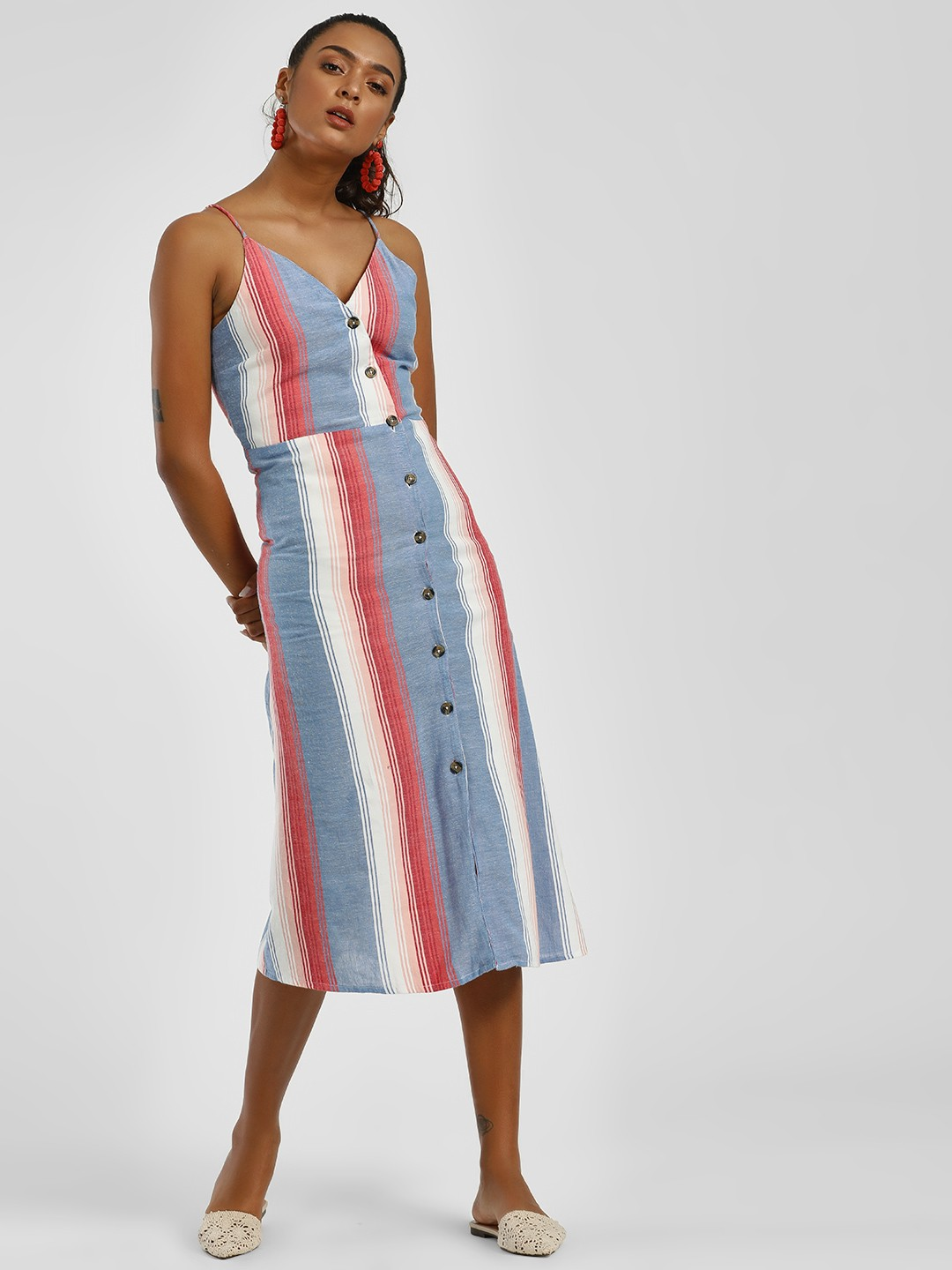 Sbuys Multi Stripe Button Detail Midi Dress 1