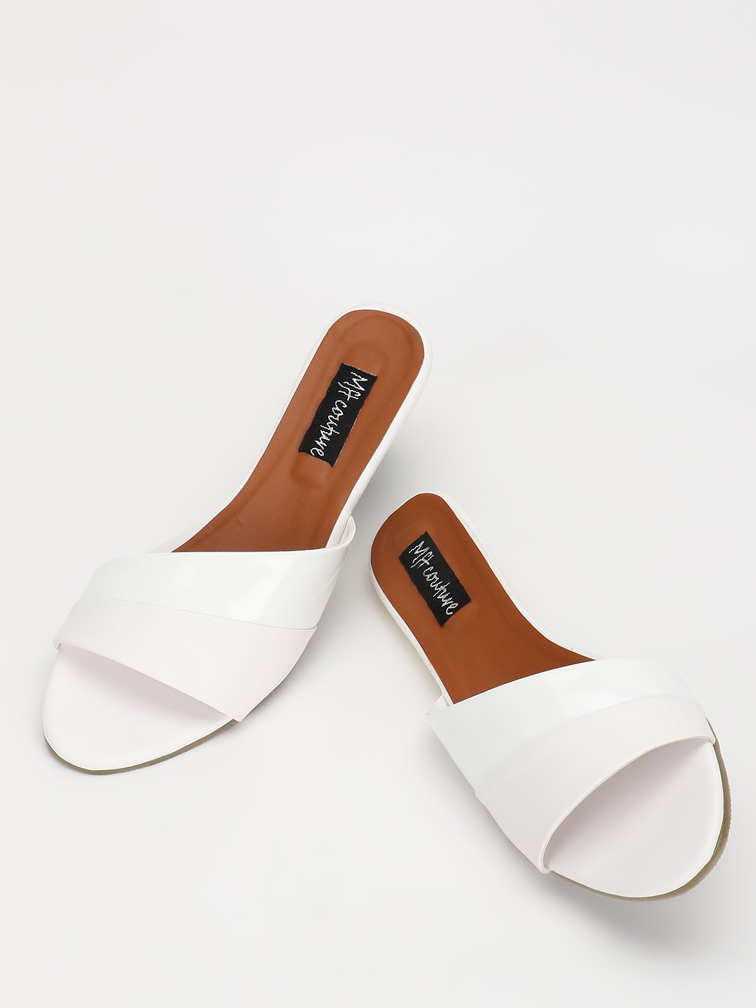 My Foot Couture White Asymmetric Strap Flat Sandals 1