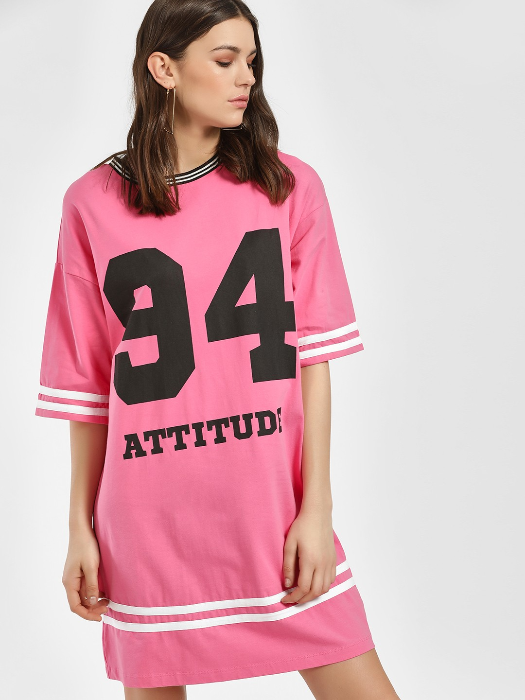 KOOVS Pink Attitude Varsity Stripe T-Shirt Dress 1