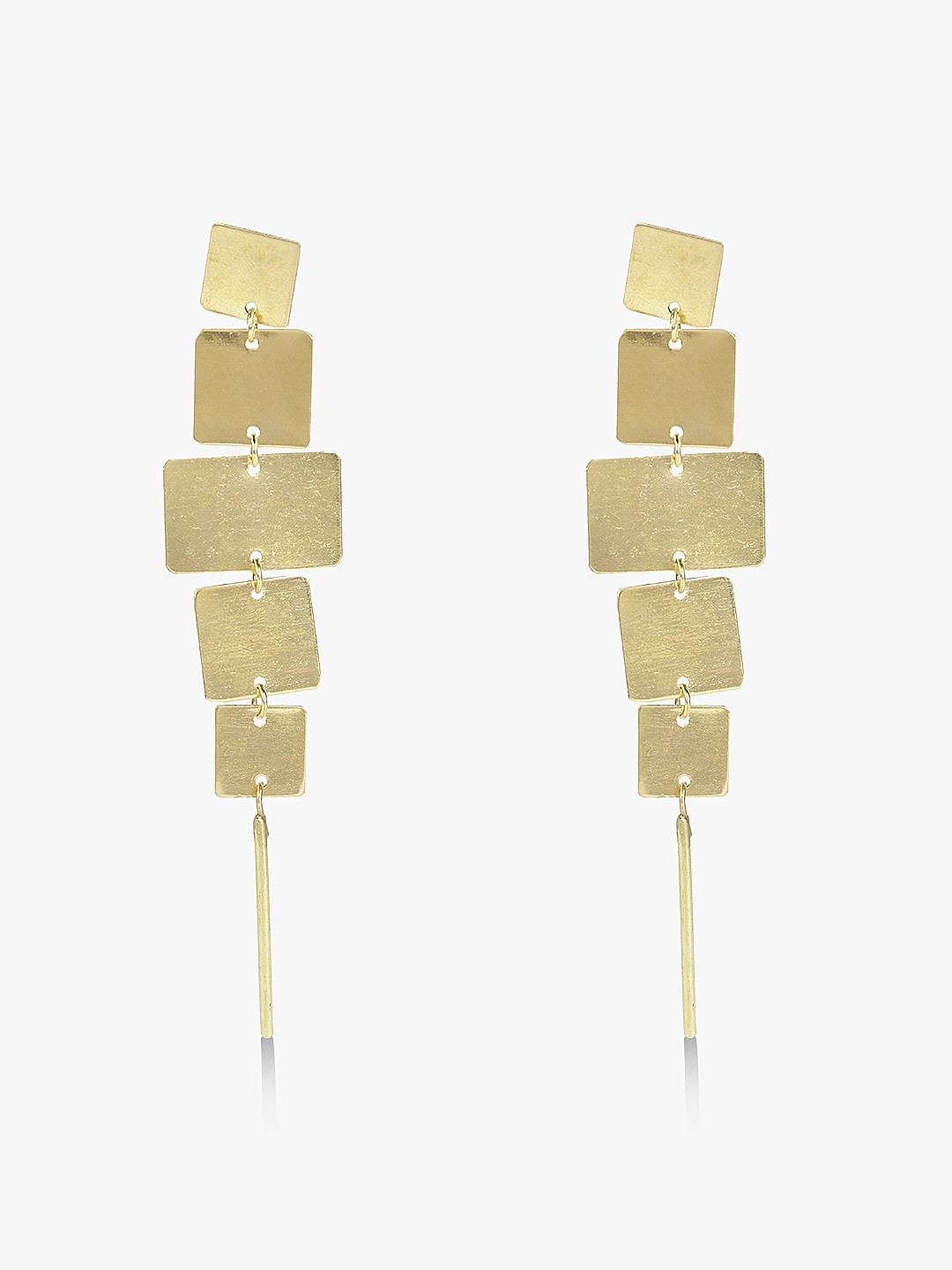 Blueberry Gold Layered Square Statement Earrings 1