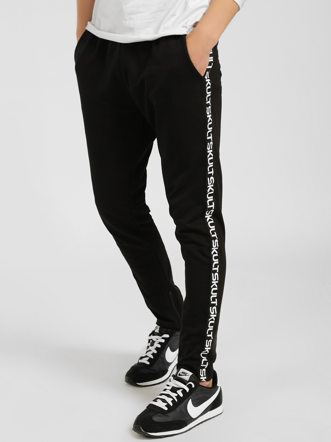 SKULT By Shahid Kapoor Black Text Side Tape Joggers 1