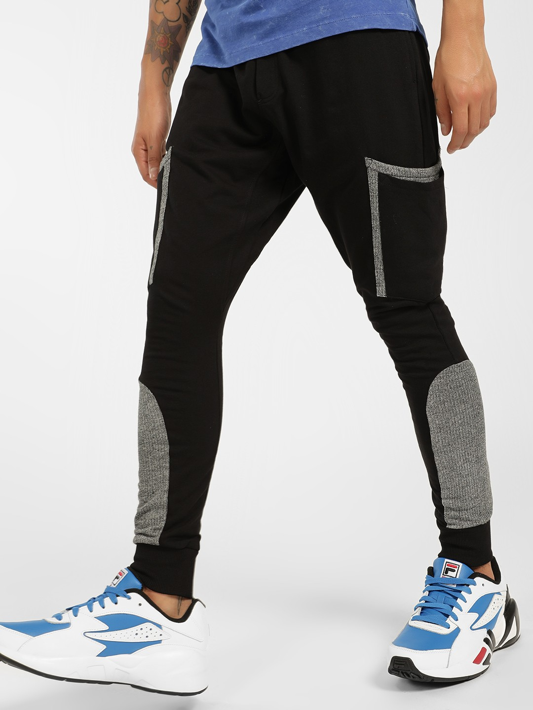 SKULT By Shahid Kapoor Black Contrast Panel Knitted Skinny Joggers 1