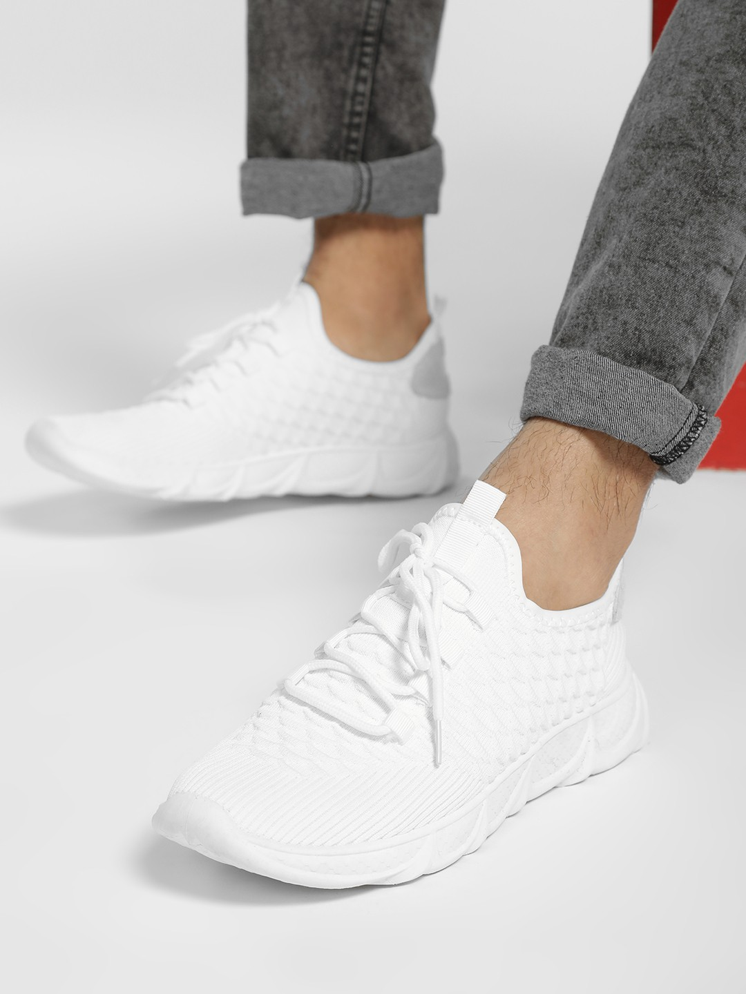 KOOVS White Knitted Casual Shoes 1