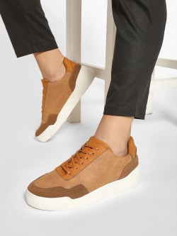 KOOVS Crocskin Suede Panel Sneakers