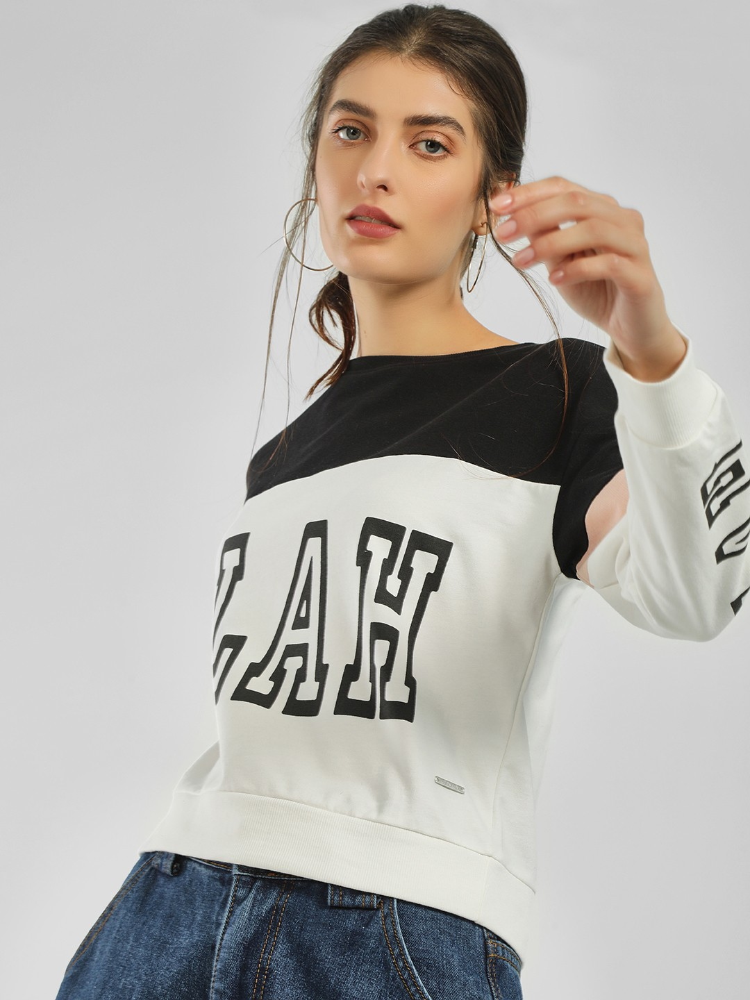 Only White Colour Block Slogan Print Sweatshirt 1