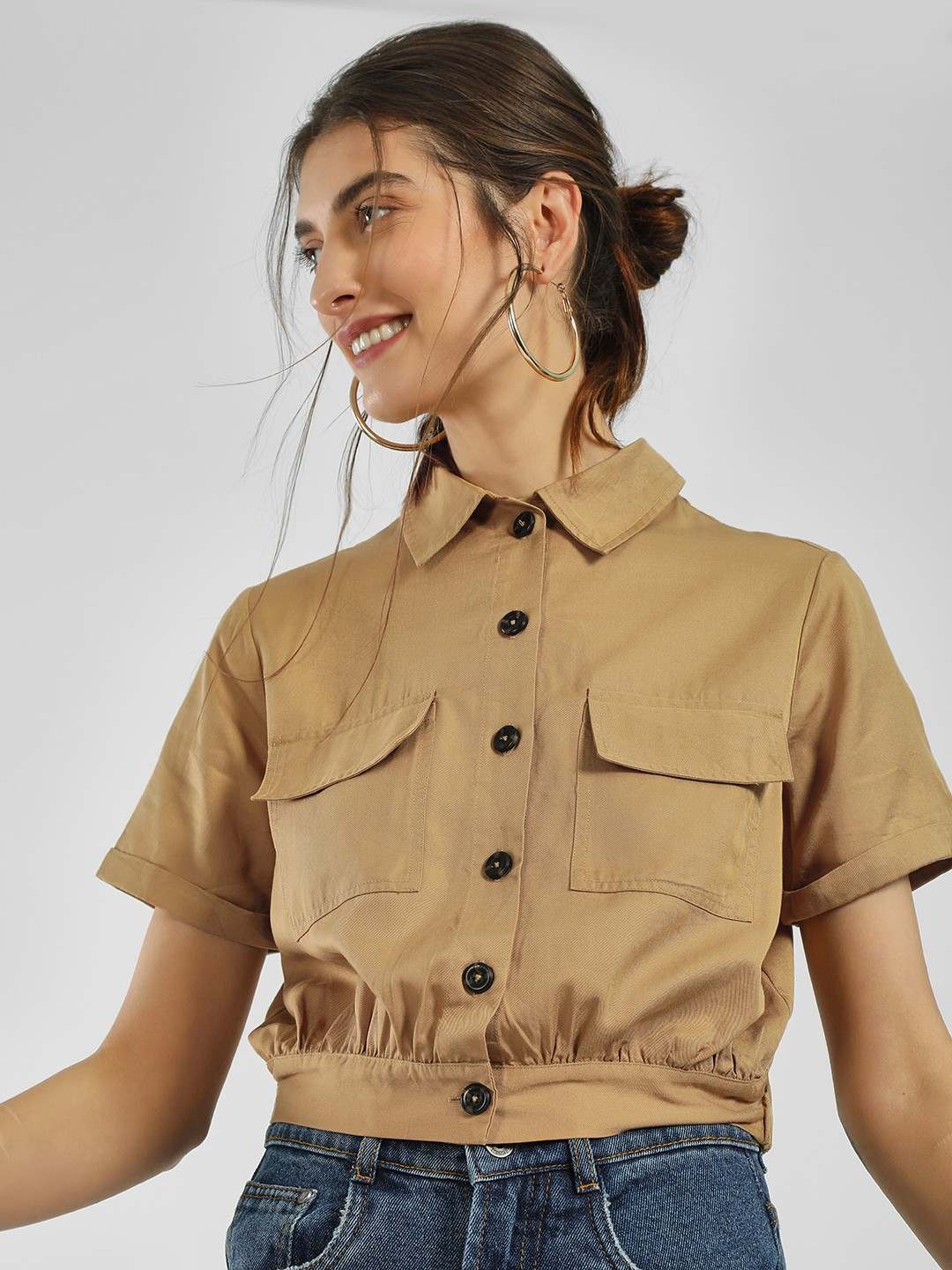 Only Brown Basic Button-Up Crop Shirt 1