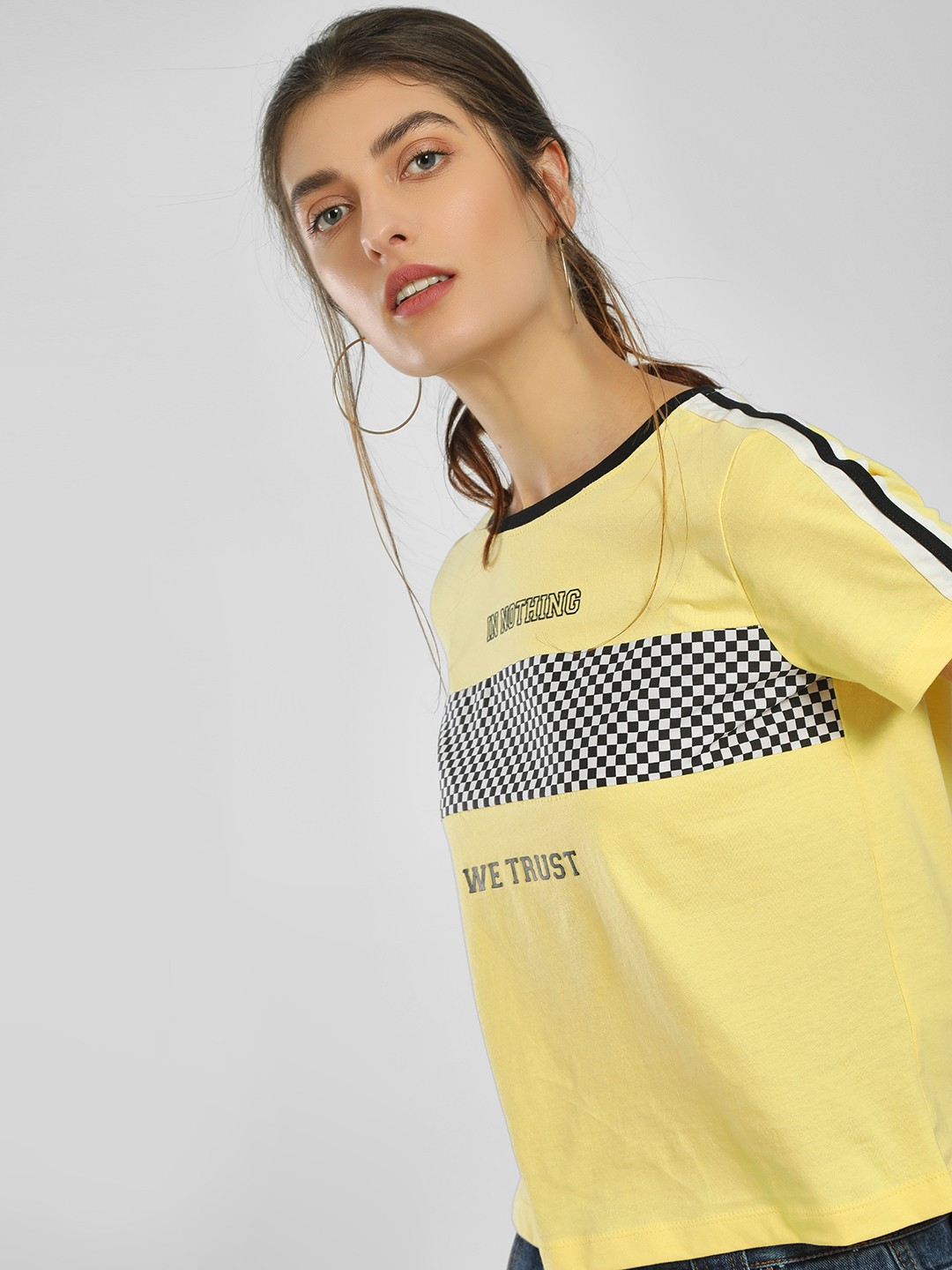 Only Yellow Checkerboard Slogan Print Crop T-Shirt 1