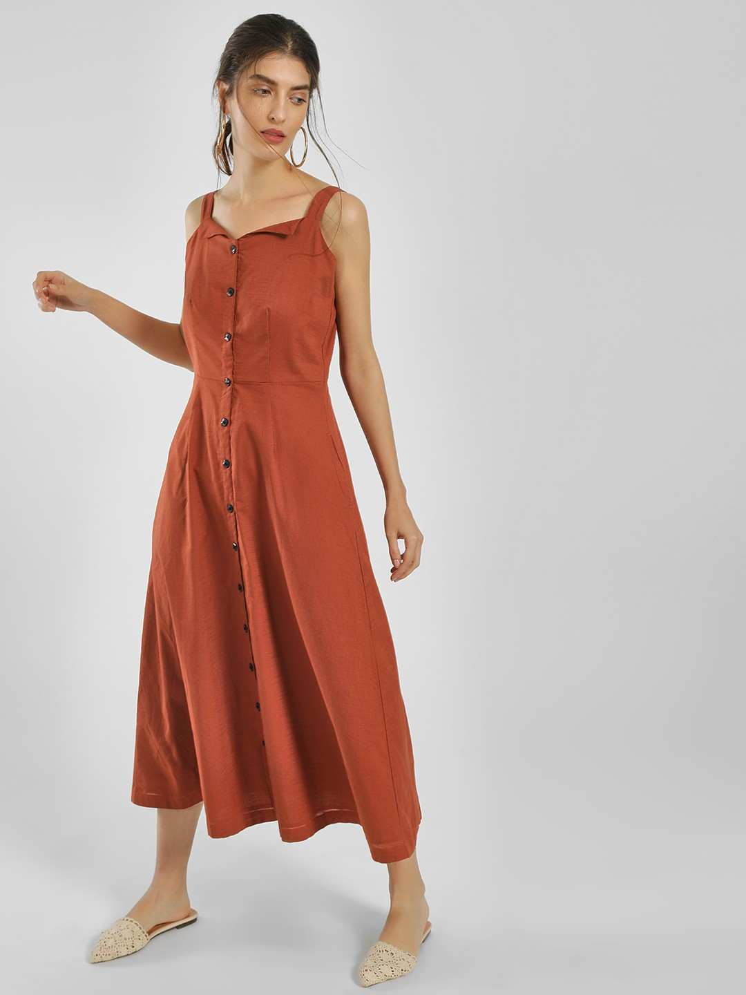 Only Brown Basic Button-Up Midi Dress 1