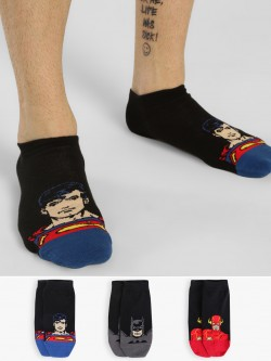 Balenzia Superhero Graphic Low Ankle Socks (Pack Of 3)