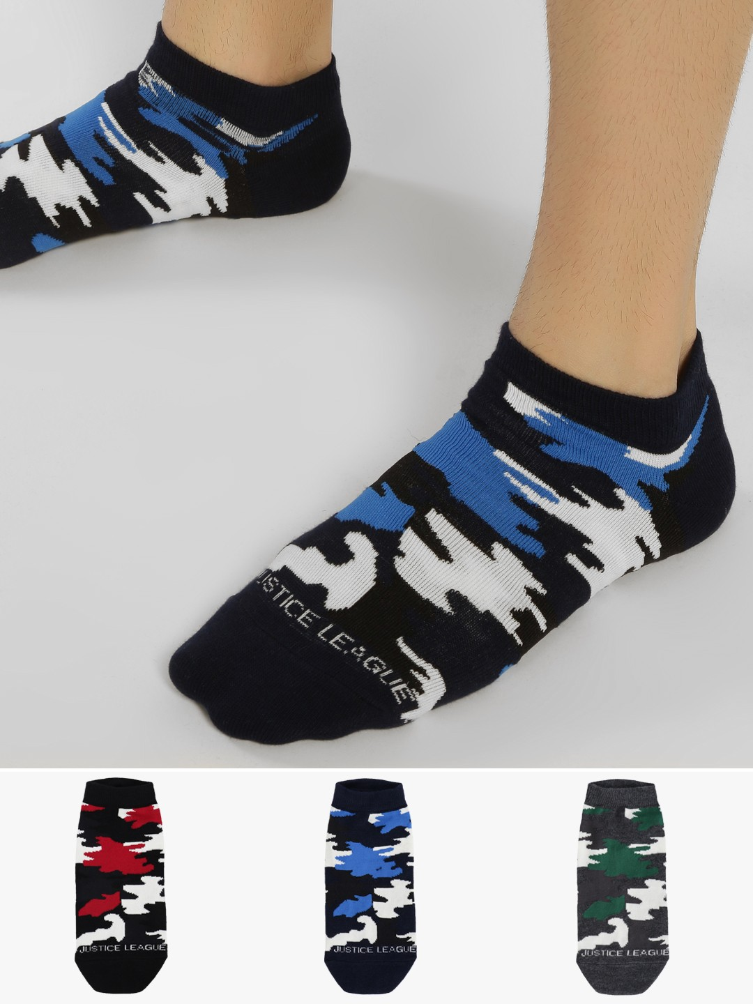 Balenzia Multi Camouflage Low Ankle Socks (Pack Of 3) 1