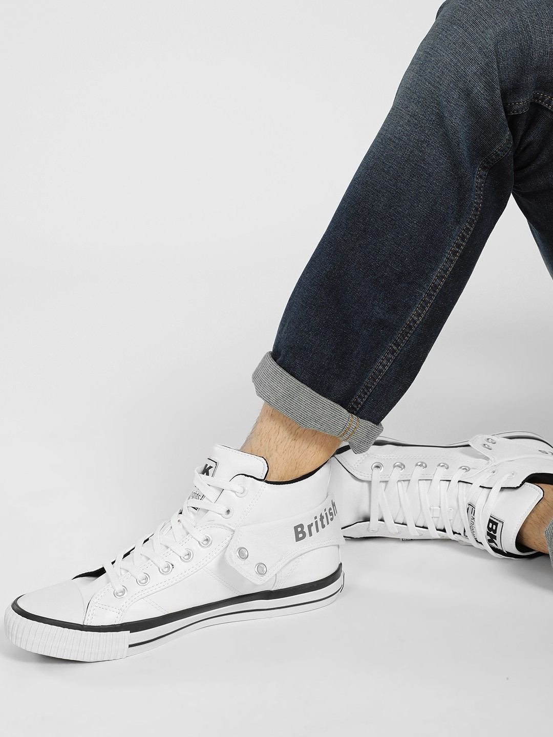 BRITISH KNIGHTS White Lace-Up Hi-Top Sneakers 1