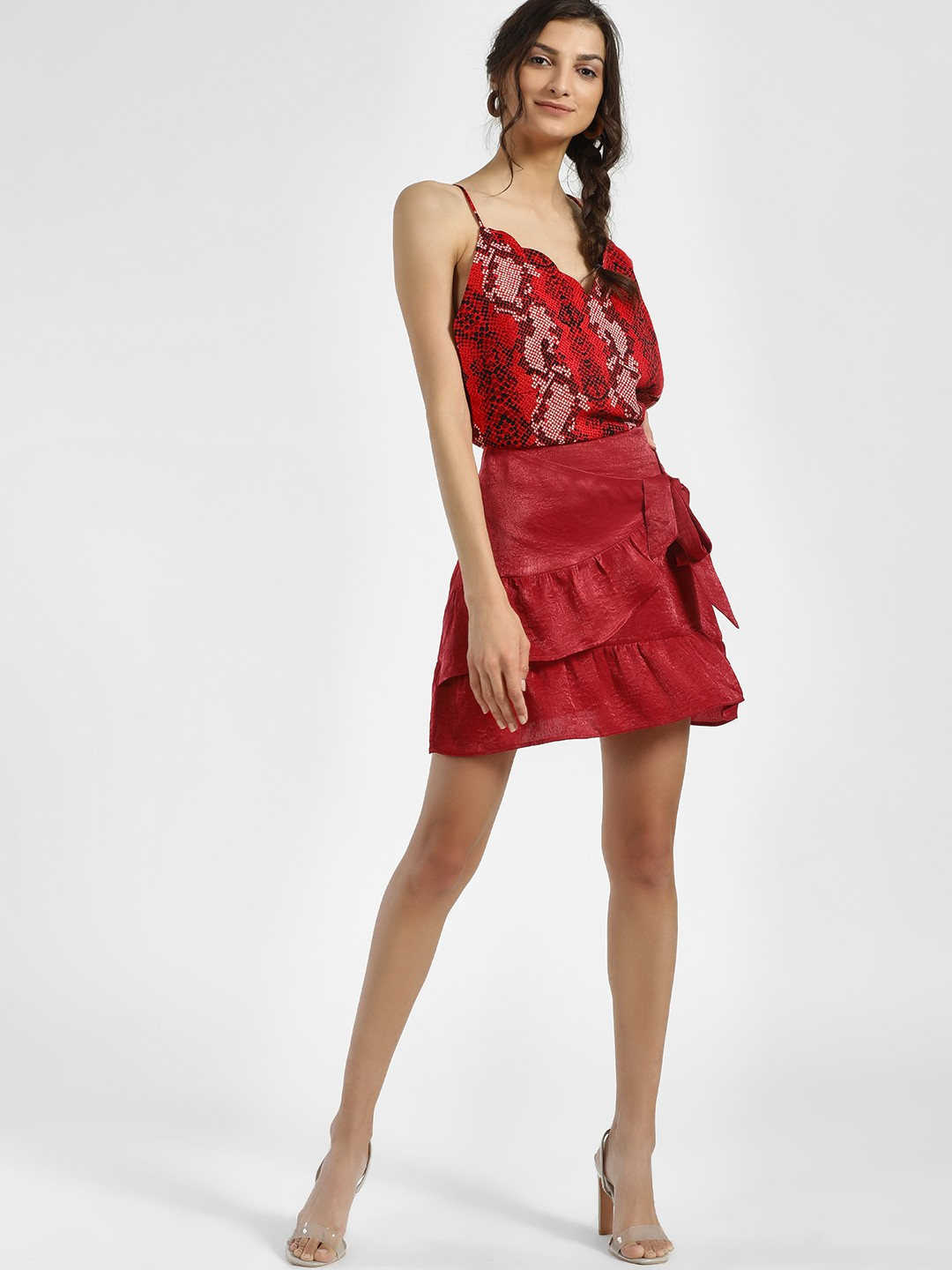 KOOVS Red Ruffle Tie-Front Mini Skirt 1