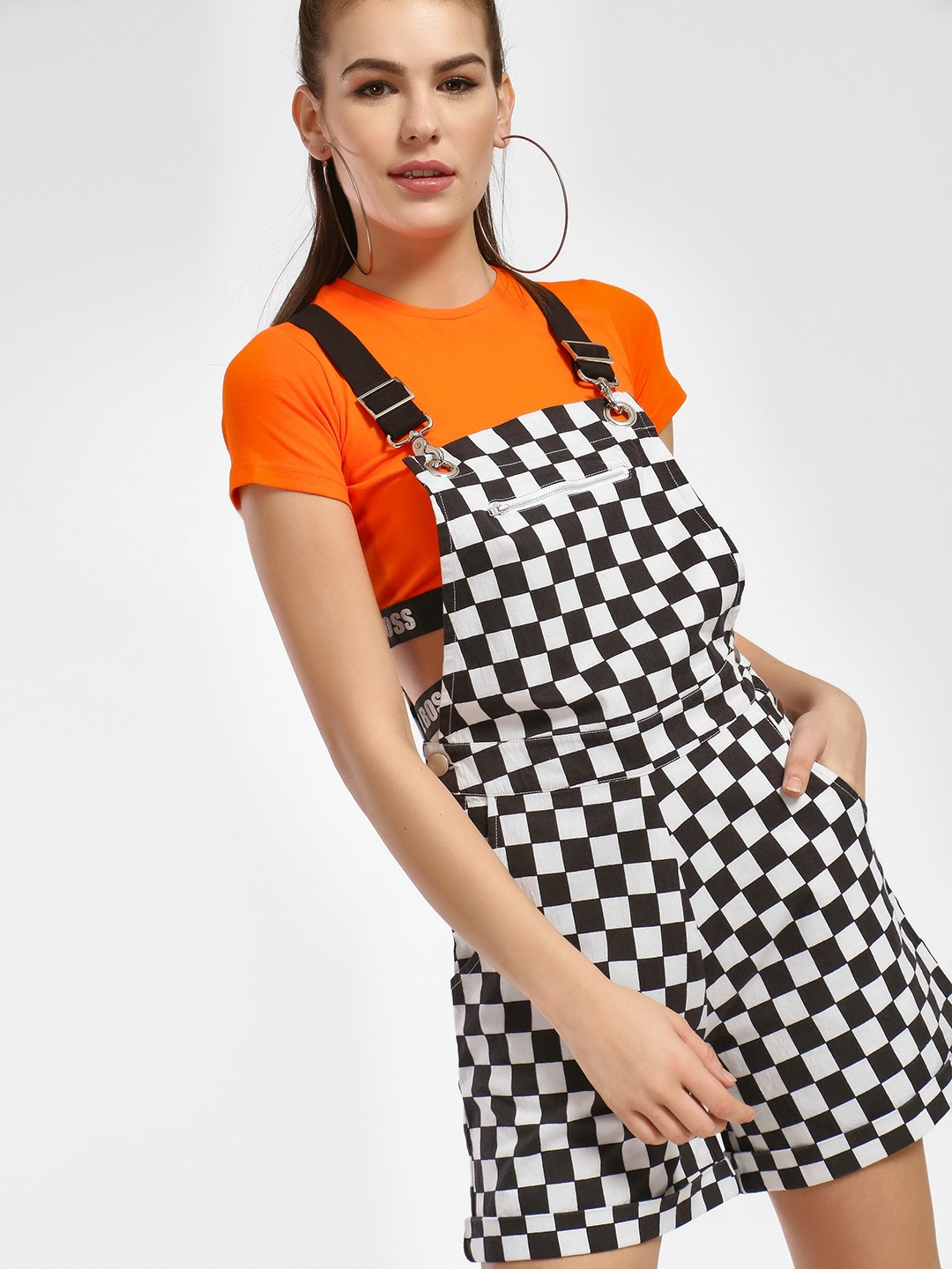 KOOVS Multi Checkerboard Dungaree Playsuit 1