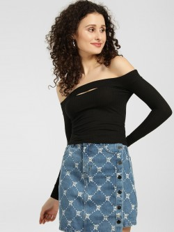 KOOVS Ribbed Front Slit Bandeau Top