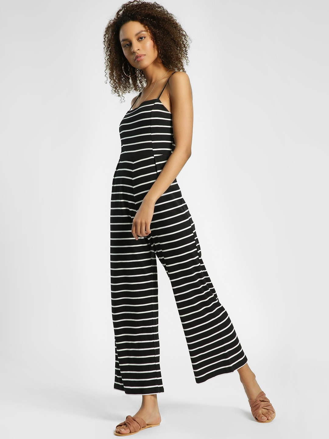 KOOVS Multi Horizontal Stripe Strappy Jumpsuit 1