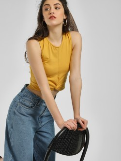 KOOVS Front Twist Crop Top